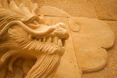 Övre textur för slut av Dragon Wall Made From Natural sandsten Royaltyfri Foto