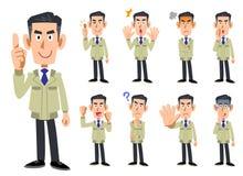 Övrekropp av en man som bär en workwear 9 uppsättningar av ansiktsuttryck och gester 2 stock illustrationer
