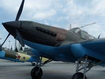 ÖvrePyshma, Ryssland - Juli 02, 2016: Den sovjetiska attacknivån IL-2, tar prov 1942 - utställningen av museet av militär utrustn Royaltyfri Bild