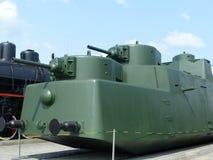 ÖvrePyshma, Ryssland - Juli 2, 2016: Vagon bepansrad MBV-2 prövkopia 1935 - utställning av museet av militär utrustning Arkivbild