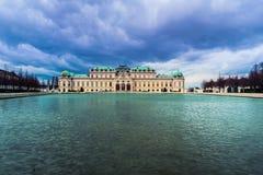 Övreslott i den historiska komplexa belvederen, Wien royaltyfria bilder