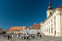 Övrestaddelen av Sibiu den historiska mitten Royaltyfri Fotografi