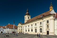 Övrestaddelen av Sibiu den historiska mitten Arkivbilder