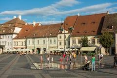 Övrestaddelen av Sibiu den historiska mitten Royaltyfria Bilder