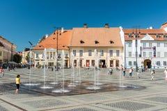 Övrestaddelen av Sibiu den historiska mitten Royaltyfri Foto