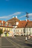 Övrestaddelen av Sibiu den historiska mitten Royaltyfri Bild