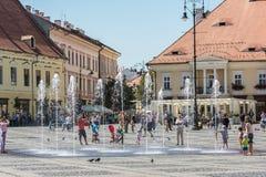 Övrestaddelen av Sibiu den historiska mitten Royaltyfria Foton