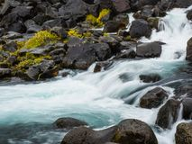 Öxará River at the Base of Öxarárfoss Stock Photo