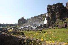 Öxarárfoss,瀑布Þingvellir,冰岛。 图库摄影