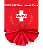 ø August Swiss National Day Vector a ilustração do feriado nacional com bandeira suíça e elementos patrióticos creativo ilustração do vetor