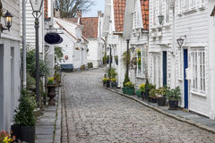 Øvre Strandgate. Street view from the old town of Stavanger, Norway Royalty Free Stock Photos