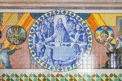 Última ceia A cripta telha mostrar a vida da Bíblia e do St Benedict Fotos de Stock Royalty Free