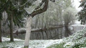 Última nieve que cae en primavera cerca de la charca en granja almacen de metraje de vídeo