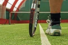 Última posição do jogador de tênis Fotografia de Stock