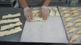 Última preparação antes de cozer Os croissant de vitrificação do padeiro com a lavagem do ovo que trabalha em sua cozinha, fazem  Imagem de Stock