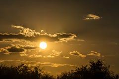 Última puesta del sol brillante anaranjada en el campo Foto de archivo libre de regalías