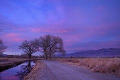 Última puesta del sol del valle de Owens Fotografía de archivo