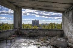 Último andar do hotel de Polissya em Pripyat (HDR) Imagem de Stock Royalty Free