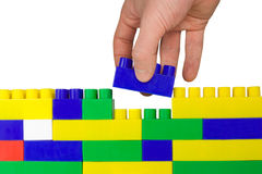 Último bloco ajustado na parede 1 Foto de Stock