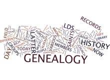 Último concepto de la nube de la palabra del fondo del texto de la genealogía del santo del día fotos de archivo libres de regalías