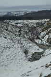 Último enrolamento e seção nevado do rio de Nervion antes de alcançar das cachoeiras as mais altas em Europa Natureza Riv das pai imagem de stock