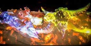 Último modelo da mostra da escultura de neve no estado de Final Fantasy fotografia de stock