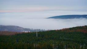 Último otoño con niebla entrante y un cielo en colores pastel-coloreado en las montañas de Harz, Alemania central septentrional imágenes de archivo libres de regalías