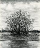 Último paysage de la melancolía del otoño ilustración del vector