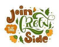 Únase al lema lateral verde del texto Drenaje amistoso colorido de la mano del eco verde y anaranjado aislado poniendo letras a  libre illustration