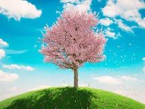 Única árvore de florescência na mola rendição 3d Imagem de Stock Royalty Free