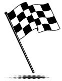 Única bandeira Checkered (que acena acima) Fotografia de Stock Royalty Free