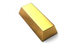 Única barra de ouro no fundo branco isolado Foto de Stock