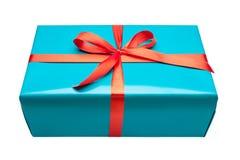 Única caixa de presente azul fotografia de stock royalty free