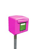 Única caixa do borne do correio, recipiente do metal, isolado Fotografia de Stock