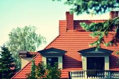Única casa da família efeito tonal colorido estilizado retro do filtro fotos de stock royalty free