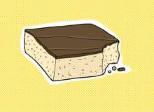 Única fatia de bolo mordido ilustração stock