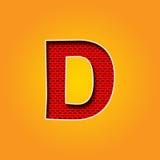 Única fonte do caráter D na cor alaranjada e amarela Fotografia de Stock