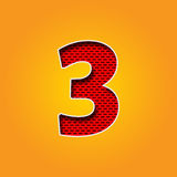 Única fonte três do caráter 3 no alfabeto alaranjado e amarelo da cor foto de stock royalty free