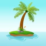 Única ilha bonita da árvore de coco Ilustração do Vetor