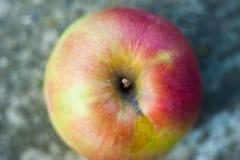 Única maçã vermelha contra a parte superior branca do fundo abaixo da metragem do estoque da vista fotos de stock