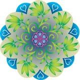 Única mandala - a folha sae de cores verdes e azuis naturais ilustração stock