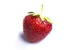 Única, morango vermelha no branco fotografia de stock royalty free
