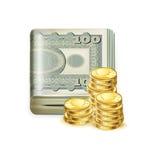 Única pilha do dinheiro dobrada com moedas douradas Foto de Stock Royalty Free