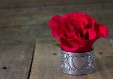 Única rosa do vermelho no fundo de madeira rústico Imagem de Stock Royalty Free