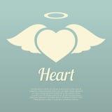 Únicas asas do coração com símbolo do halo Fotografia de Stock Royalty Free