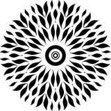 Únicas hojas del diseño redondo, hojas comunes del diseño blanco y negro, redondo hojas como pescados como esperma en mujer stock de ilustración