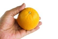 Únicas laranja e mão isoladas no fundo branco Imagens de Stock