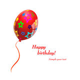 Único balão vermelho Fotos de Stock Royalty Free