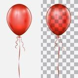 Único balão vermelho realístico com a corda ilustração do vetor