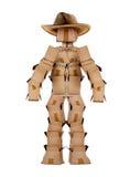 Único caráter do cowboy do homem da caixa no branco Imagem de Stock